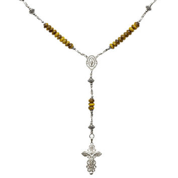 Sterling Silver Rosary Necklace Tiger Eyes 6mm, Crucifix & M. Medal, 17""
