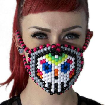 Rainbow Sugar Skull Kandi Mask