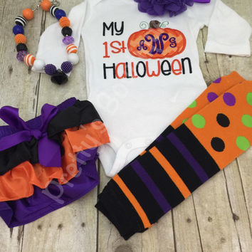Baby 1st Halloween bodysuit or shirt - My 1st Halloween outfit bodysuit or shirt, necklace, bloomer, headband and legwarmers. Monogram perso