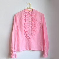 Vintage Pink Ruffled Blouse Victorian Style Romantic Ruffle Top Medium M