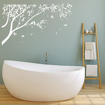 Vinyl Wall Decal Birds On Tree Branch Nature Landscape Nursery Room Decor Stickers (4161ig)