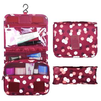 Travel Bag, Multi-function Waterproof Bathroom Storage Nylon Cosmetic Bags with Hook for Women, Hanging Travel Toiletry Bag, Lanting (Red)
