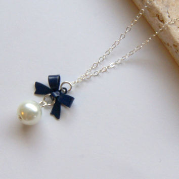 Navy Blue Bow Necklace, Bridal Jewelry, Bridesmaid Necklace