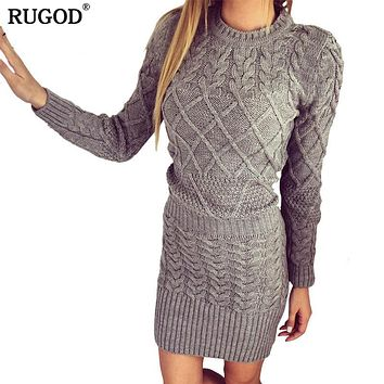 RUGOD 2018 Spring Long Sleeve Sweater Dress Women Sexy Slim Bodycon Knitted Dresses Skinny Party Dress Female Vintage vestidos