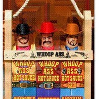 Whoop Ass Hot Sauce Gift Set - In a Wooden Crate! All three Hot Sauce Cowboys are packed into the local saloon and they're packin' heat. Makes the perfect gift for any Hot Sauce connoisseur.