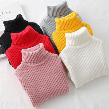 LILIGIRL Baby Girls Winter Turtleneck Sweater Colthes Boys Children Clothing Pullover Knitted Solid Kids Sweaters