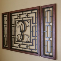 Monogrammed Rectangular Wall Grouping with Solid Oak Border 1-3 Piece Set.
