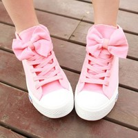 00-PINK BOW CANVAS SHOES-0-88-5 from PSILoveYouMoreBoutique