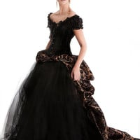 Custom Size bronze and black Damask burlesque tulle prom dress  ball gown with long bustled train