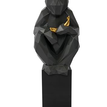 Monkey with Banana Large Sculpture - Grey and Gold