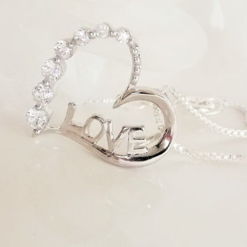 Love Heart Necklace Sterling Silver. Diamond Heart Necklace. Diamond Love Necklace. Tiny Diamond Necklace