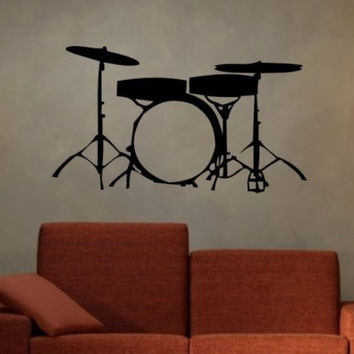 Drumset Decal Sticker Wall Boy Girl Teen Child Music Instrument Drums