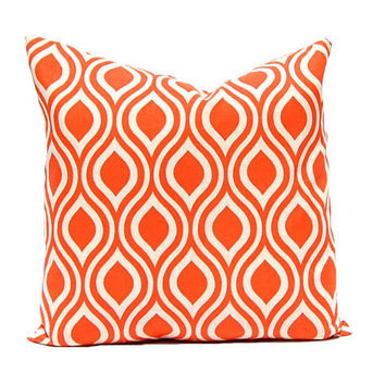 Orange Pillow Covers, Throw Pillow Cover, Decorative Pillow Cover Orange Taupe on Linen Cushion Cover Fall Pillows Ikat Pillow Set of Three