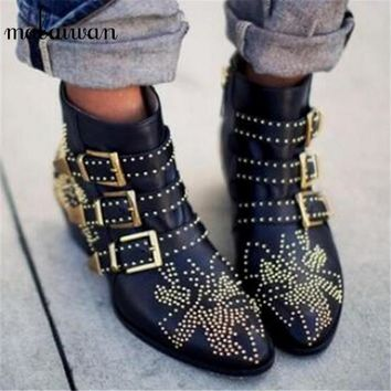 Fashion Susanna Studded Women Booties 2017 New Black Red Ladies Shoes Women Autumn Win