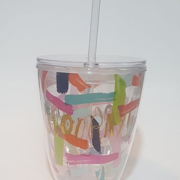 Hooray! Acrylic cup with straw