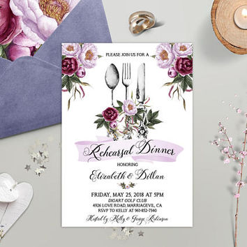 Rehearsal Dinner Invitation Printable Floral Wedding Rehearsal Dinner Invite Burgundy Purple Merlot Lilac Reception invite Digital / Printed