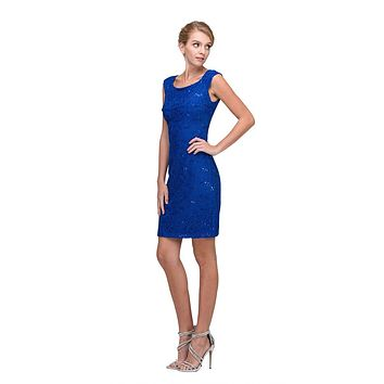 Royal Blue Above Knee Lace Fitted Cocktail Dress Tank Strap