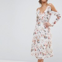 Boohoo Floral Cold Shoulder Midi Dress at asos.com