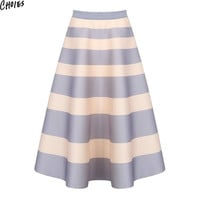 Women 2 Colors Block Stripe Print Elegant A Line Lolita Skater Pleated Midi Skirt 2016 Summer New High Waist Cute Slim Clothing