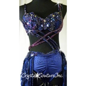 Crystal Couture | Navy Blue Connected 2 Piece Bra-Top and Tunk/Skirt with Appliques - Swarovski Rhinestones - Size AM - Lyrical - Costumes