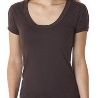 Amazon.com: Bella Ladies Cotton/Poly Myla Vintage Scoop Neck Tee T-Shirt With Puff Sleeves - Chocolate: Clothing