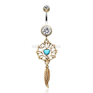 Antique Turquoise Heart Dreamcatcher Belly Button Ring (Brass/Clear)