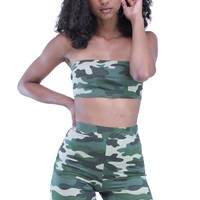 Military Pattern Bandeau Top and Skinny Shorts Casual Training Set