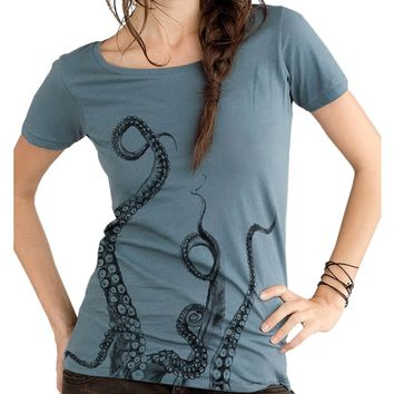 Octopus Tentacles Scoop Neck Tee - Ladies