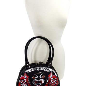Liquor Brand Traditional American Tattoo Black Panther & Roses Small Bowler Bag