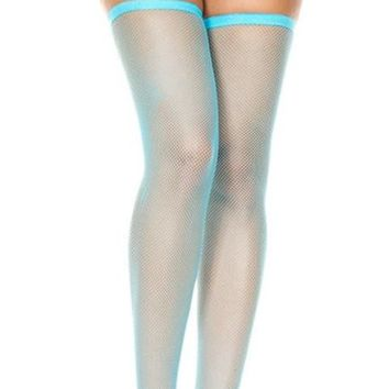 Turquoise (Neon) Small Fishnet Spandex Thigh High