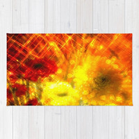 Flowers, Light, Yellow, Red, Joy - Decorative Throw Rug, 3 Sizes Available - Kitchen, Nursery, Home or Office, Gift - Made To Order - J#77