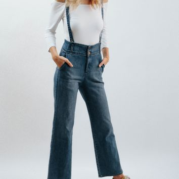 Clean Wide Leg Denim Suspenders