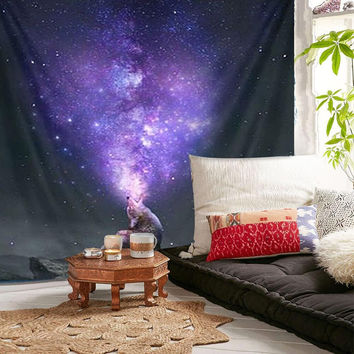 Wall Hanging Tapestry Purple Throw Blanket Home Room Decorative Rug Home Decoration Textiles Bedspread Supplies 150X130cm