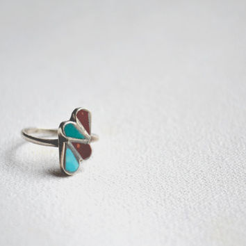 vintage tear drop turquoise ring // navajo native american inlay // sterling silver