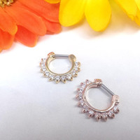CZ Gold or Rose Gold Plated Septum Clicker with elegant cubic zirconia gems Daith piercing jewelry