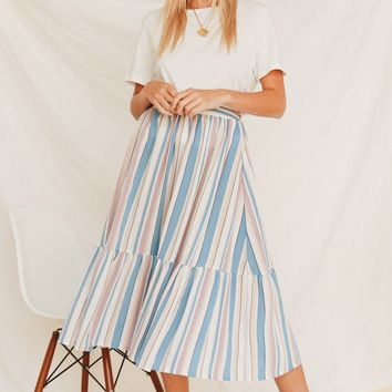 Hometown Midi Skirt // Stripe