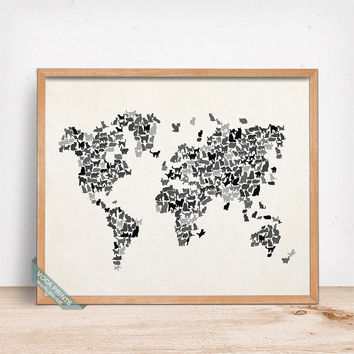 Cat World Map Print, Cats World Map, World Map Poster, Kitten Decor, Dorm Decor, Cat Print, Baby Room Decor, Mothers Day Gift