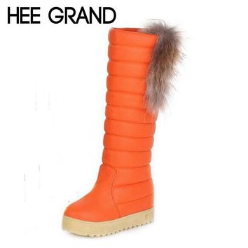 HEE GRAND High Boots Winter Waterproof  High Quality  Warm Solid Long Artificial Leather  Fox Snow Boots Shoes Women XWX849