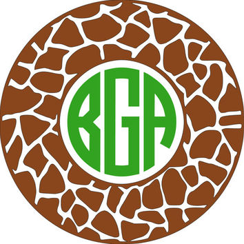 Giraffe Monogram Car Decal- Vinyl Monogram Decal giraffe pattern, iPad Decal- stocking stuffer, Phone Decal- Sticker Monogram Decal, laptop
