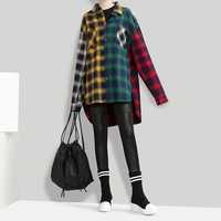 Women Personality Casual Middle Long Section Long Sleeve Multicolor Tartan Lapel Shirt Loose Coat Tops