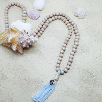 Mala Necklace Mala Bead Necklace wood bead necklace bohemian beach jewelry 108 Mala Beads Prayer Beads Meditation Yoga tassel necklace shell