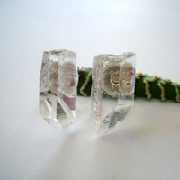 Raw Crystal Stud Earrings - Simi-Precious - Mineral Jewelry - Clear Crystal Quartz - Simple
