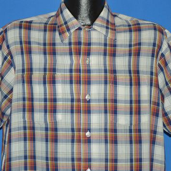 80s JC Penney Short Sleeve Plaid Men's Shirt Large