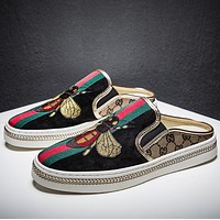 GUCCI Bees Embroidered Canvas Shoes