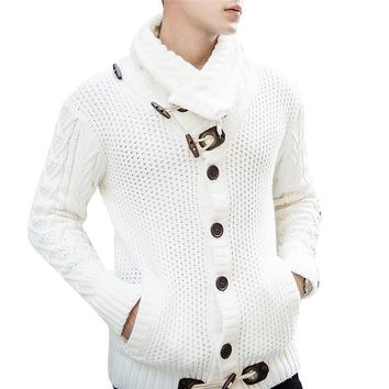 Men's  Stylish Horn Button Cardigan Sweater