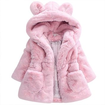2017 Baby Autumn Winter Waistcoat Children's Rabbit ears Fur Girls Artificial fur Coat Kids Faux Fur Fabric Clothes Fur coat