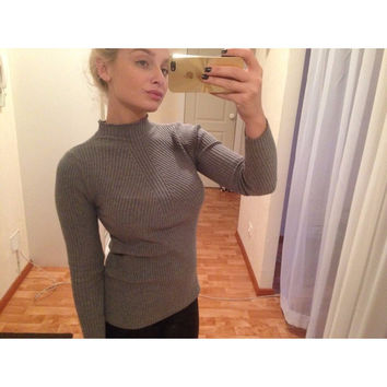 turtleneck knitted sweater  knitted slim pullover