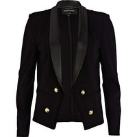 Black leather look collar blazer