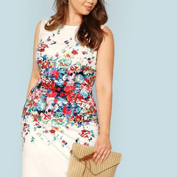 Plus Form Fitting Floral Shell Dress