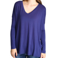 Dark Blue Piko V-Neck Long Sleeve Top